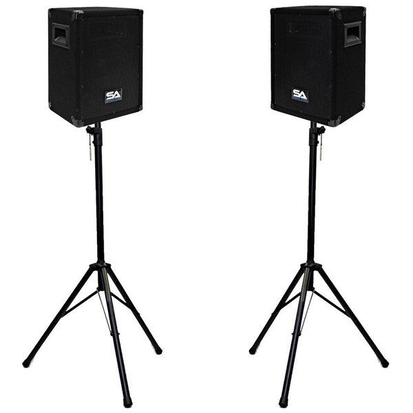 "Seismic Audio - Pair of 8"" PA DJ Speakers with 2 Tripod Stands for Rent in Richmond, VA"